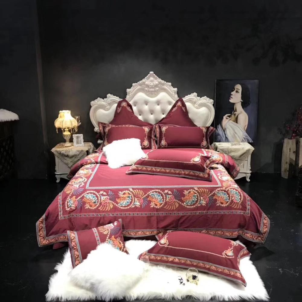 Luxury 1000TC Egyptian Cotton Royal Embroidery European Palace Bedding Set Dark Red Duvet Cover Bed Linen Bed Sheet Pillowcases