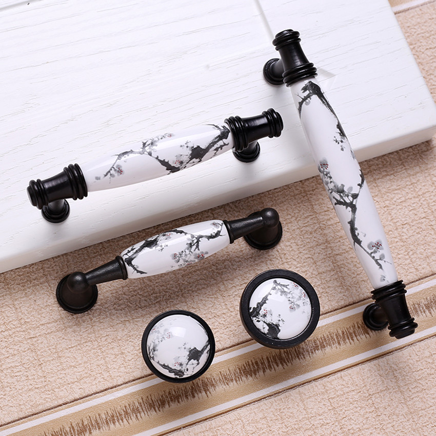 96mm 128mm antique black kitchen cabinet cupboard door handles Ink pattern ceramic dresser drawer cabinet knobs pulls 5 REREO 128mm modern fashion ceramic furniture door handles blue and white porcelain kitchen cabinet drawer handles silver dresser pulls