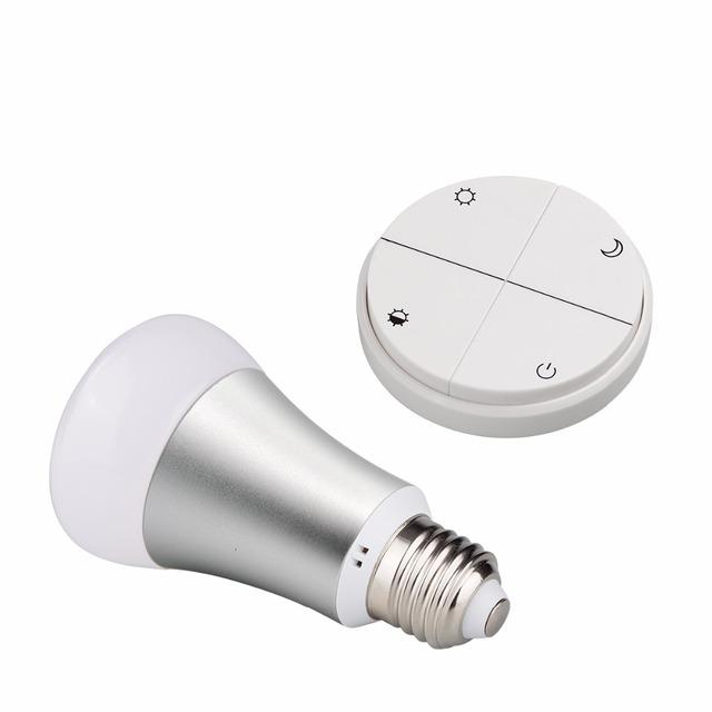 Nuevo control remoto Inalámbrico Sin Batería Inteligente luces AC85 ~ 265 V E27 bombilla Led dimmer interruptor inalámbrico 8 W 433 MHZ para el hogar inteligente