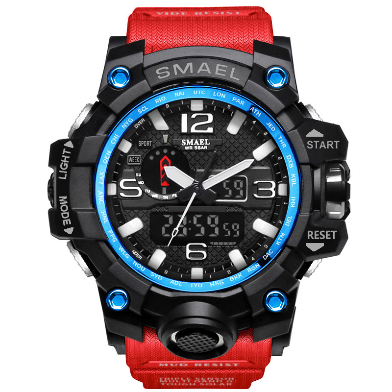 SMAEL Brand Men's Sports Watch Dual Display Wristwatches Military Alarm Quartz Clock Male LED Digital Men Watches Hours relogio цена и фото
