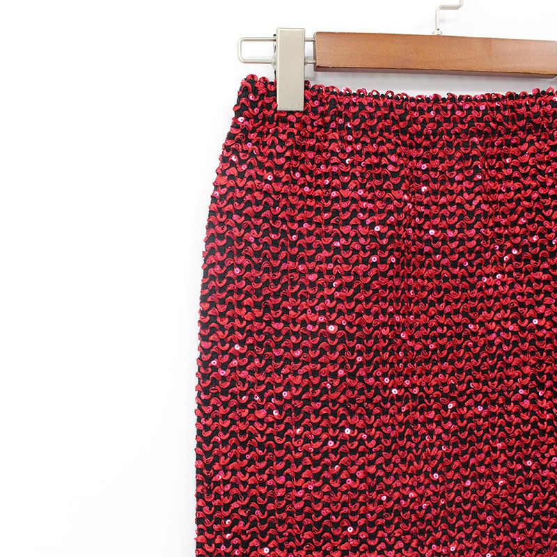 2018 femmes jupes Saia moulante longue jupe crayon mi-mollet or pailleté taille haute élasticité Wrap Sexy fête jupe