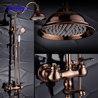 Dofaso quality luxury gold rose bath shower faucets antique special shower set tap mixer big rain 20cm head shower