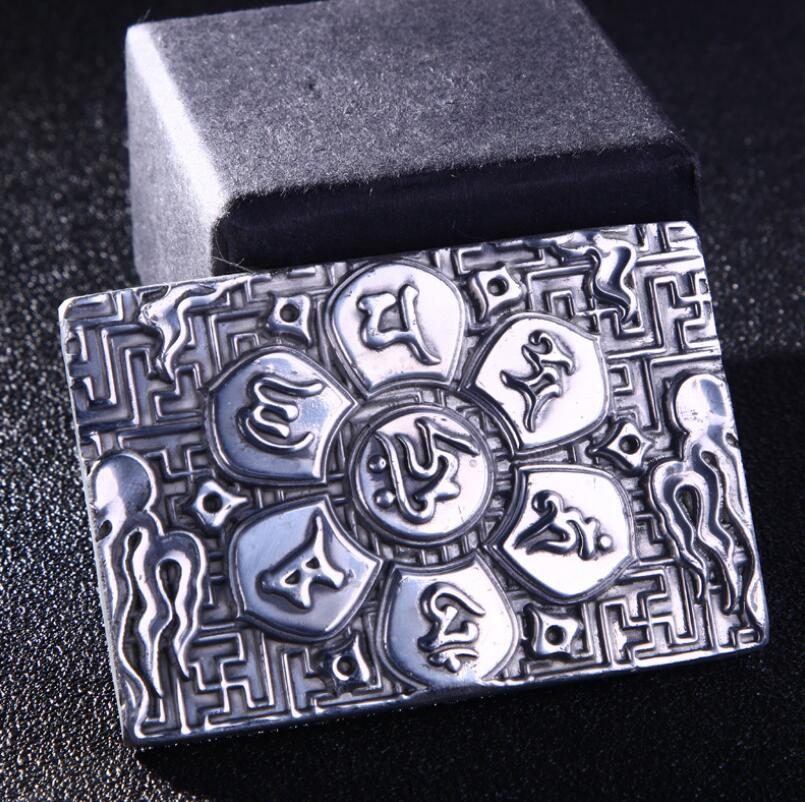 Six Word Mantra 999 Silver Retangle Belt Buckle