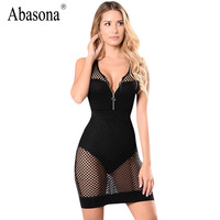 Abasona Summer Women Dress 2017 Sexy V Neck Backless Mesh Bodycon Dresses Hole Hollow Out Black