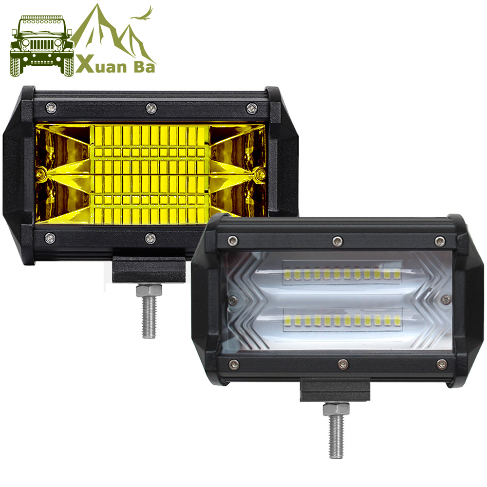 5 Inch Yellow Led Work Light Bar 4x4 Offroad For Car 12V 24V Motorcycle Trucks Uaz SUV ATV 4WD Flood Beam Led Driving Fog Lamp-in Light Bar/Work Light from Automobiles & Motorcycles