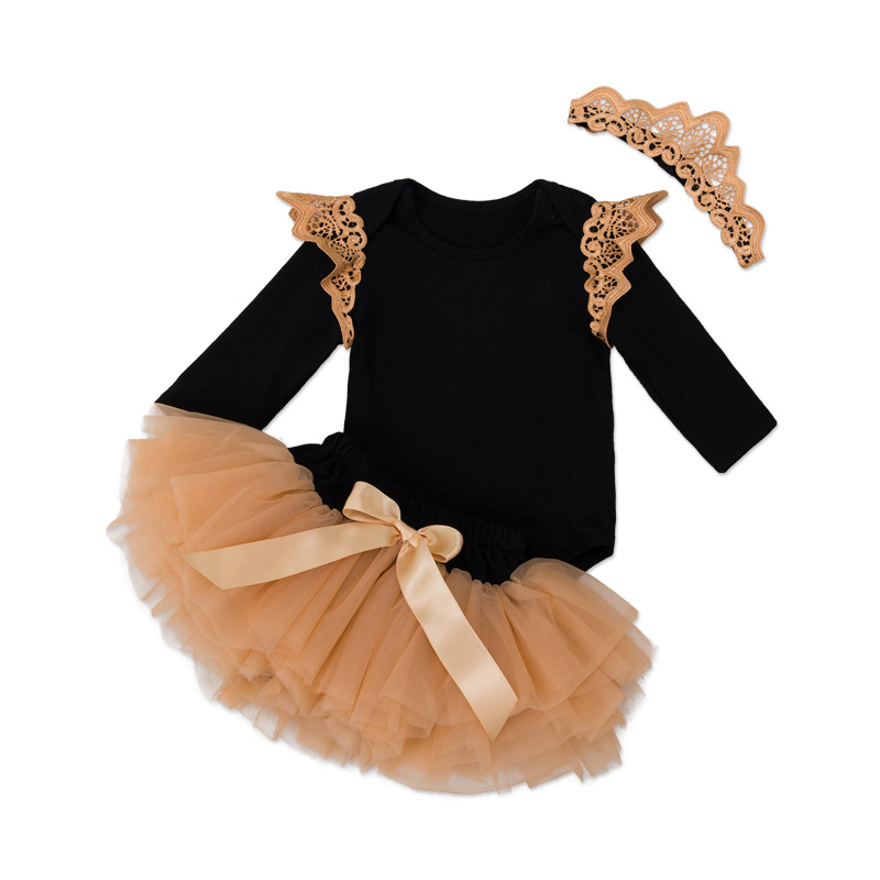 Newborn Baby Clothing Sets Boutique Outfits Princess Girls Costume Bodysuit+Gold Crown+TUTU Skirt 3pcs Baby's Set Birthday Gift