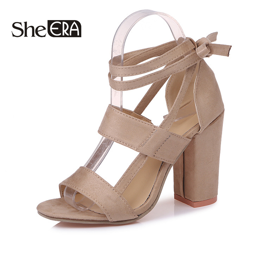 She ERA Women Bandage Cross Flock Sandals Pump 2018 Ankle Strap High Square Heels 11CM Lady Chic Sexy Shoes