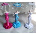 Fashion Mannequin With Umbrella Doll Rack Necklace Earring  Ring Jewelry Organizer Wedding Favor Holder Decorations