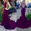 Púrpura Backless Atractivo de La Sirena Vestidos de Noche Largo Tribunal Tren Vestido De Festa mujeres de Noche Formal Del Partido Prom Vestidos 2017