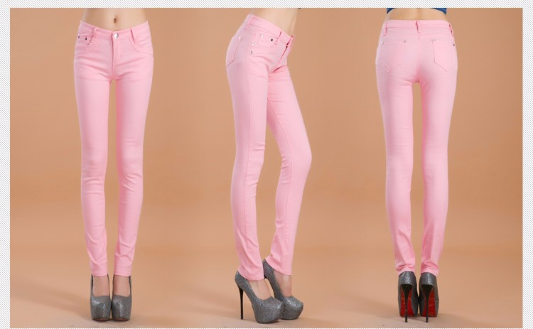 Autumn Elastic Women Pencil Jeans Pants Candy Colored Mid Waist Zipper Slim Fit Skinny Female Jean 2018 Fashion Full Length Pant
