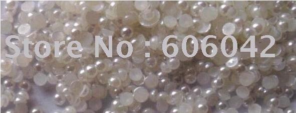 Free Shipping! 10000pcs/bag 4mm Half Balls Round Flatback ABS Imitational Pearls Nail Art Garment Accessories White Rice
