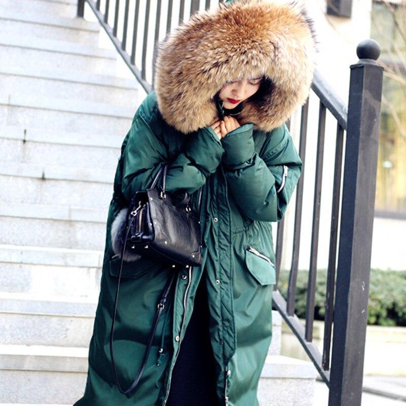 Брендовая Новинка 2018 года зимняя куртка на утином пуху утолщение женская теплая одежда для женщин длинное пальто мужские парки енот мех