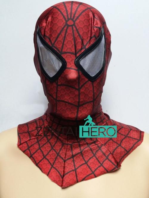 Бесплатная Доставка DHL НОВЫЙ Печать Мода Хэллоуин Из Лайкры и Спандекса Зентаи Superhero Красный Паук Капюшоном Белые Глаза MK-71