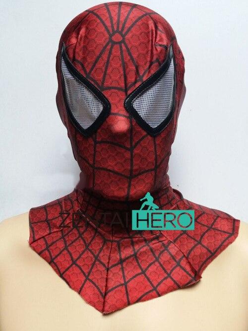 Free Shipping DHL NEW Printing Fashion Halloween Lycra Spandex Zentai Superhero Red Spiderman Hood  White Eyes MK-71