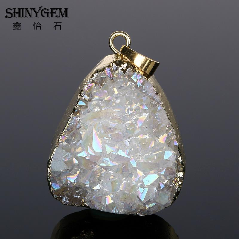 ShinyGem Natural Druzy Crystal Pendant Gold Edge Tidak teratur Crystal Opal Pendant Chakra Natural Stone Pendants For Making Jewelry