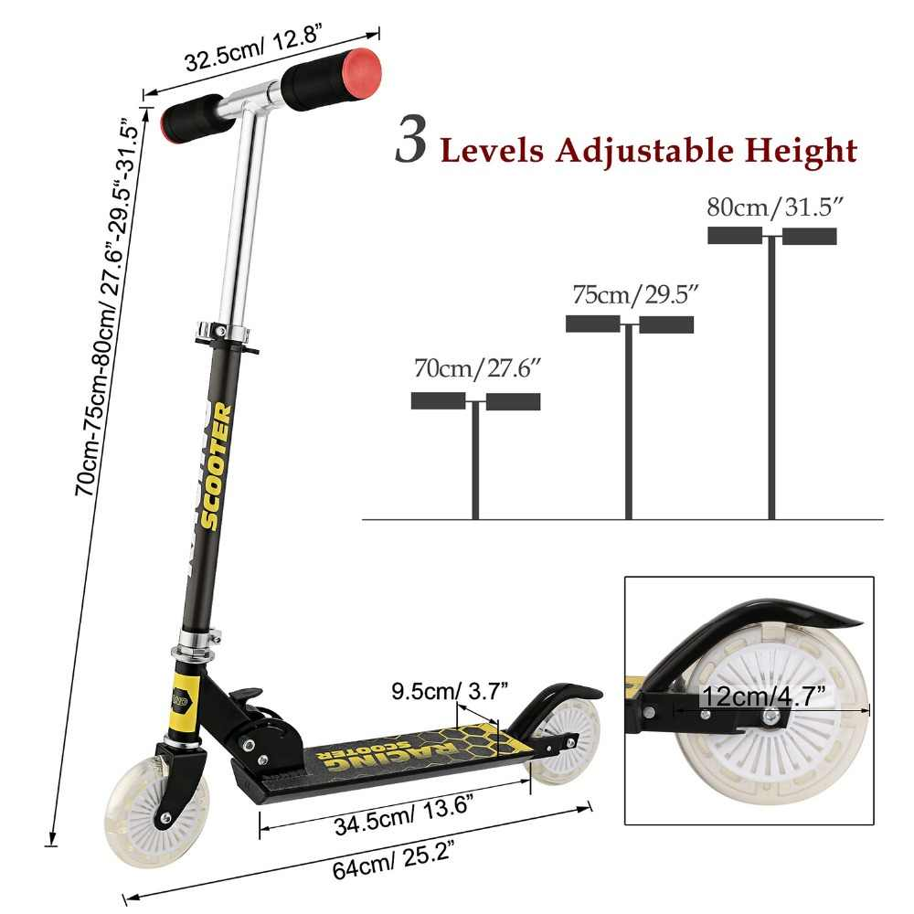 ANCHEER 子供の足スクーター新スタイルアルミ合金キックスクーター高さ調節ためキッズボーイズガールズ