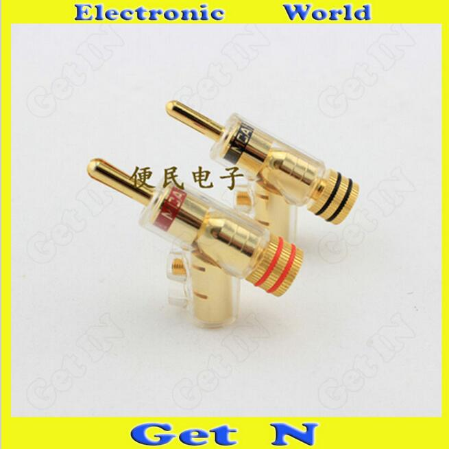 4pcs MCA Swiss Brass Banana Connectors Jack Free Welding Lockable Gun Type Audio Speaker Cable Banana Plug Socket free shipping 2 pairs of trafimet style cable joint 35 50 cable connectors socket and plug for 315a welding machines