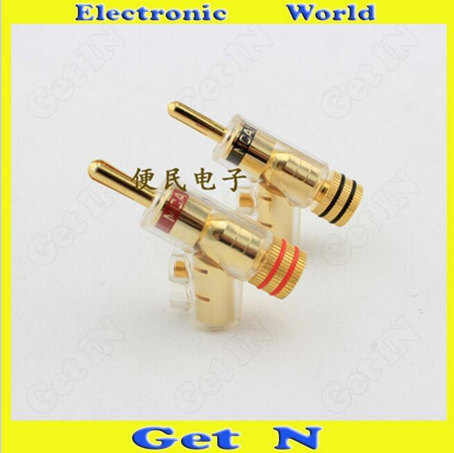 4pcs MCA Swiss Brass Banana Connectors Jack Free Welding Lockable Gun Type Audio Speaker Cable Banana Plug Socket