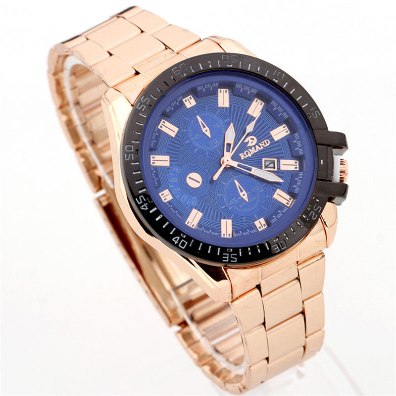New Luxury Mens Black Dial Gold Stainless Steel Date Quartz Analog Sport Wrist Watch elogio masculino2017 New top brand luxury digital led analog date alarm stainless steel white dial wrist shark sport watch quartz men for gift sh004