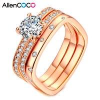 Allencoco Altamente Raccomandato Wedding Ring Tre Bande Piazza Anelli Intarsiati Migliore Qualità CZ Gioielli di Moda Regali Per Le Donne