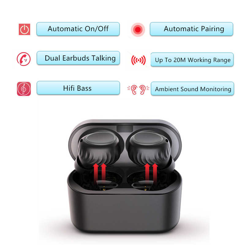 d55d29d7e1c ... HAAYOT Bluetooth 5.0 Earbuds True Wireless Earphone Bass Sport Headphone  With Noise Cancelling Handsfree Mic Headset ...