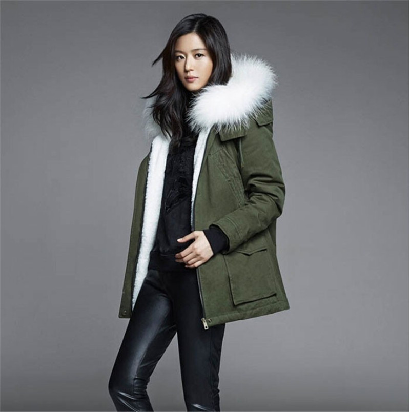 White long parka Mrs real fur collar MR cotton women parka, army ...