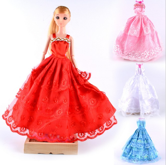 New Child Doll Garments Equipment White Crimson Pink Shade Marriage ceremony Robe Clothes Social gathering For Barbie Doll Xmas Present Child Lady Toys