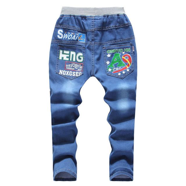 Moda Primavera Cowboys 5-11Y Jeans Para Adolescentes Meninos Cintura Elástica Longas Calças Meninos Criança Crianças calças de Brim Infantis Calças KJ-1577