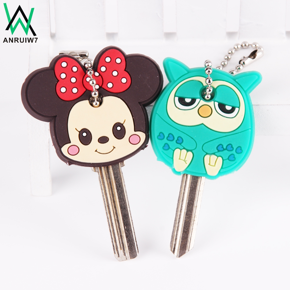 Anime Silicone Cat Key Cap Minion Key Chain Women Bag Charm Key Holder Stitch Key Ring Owl Keychain Mickey Hello Kitty Key Cover заика александр александрович photoshop для начинающих
