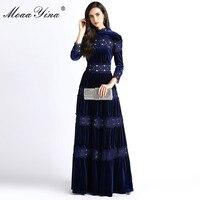 MoaaYina Fashion Designer Velvet Turtleneck Dress Autumn Women 3/4 sleeve Lace Embroidery Spliced Party Elegant Maxi Dresses