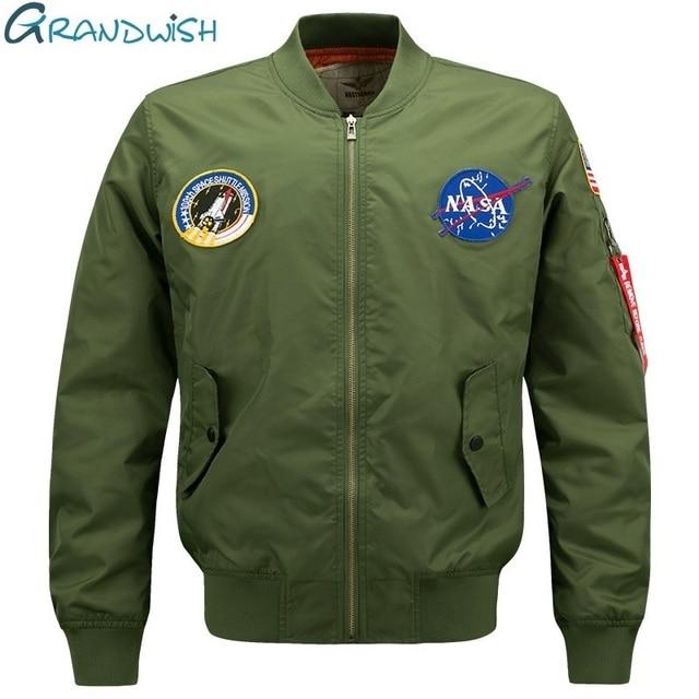 Grandwish Mens Bomber Jacket Nasa Patch Design Men Pilot Jacket Coat Plus size 6XL Men's Ma-1 Flight Bomber Jacket Men , PA867