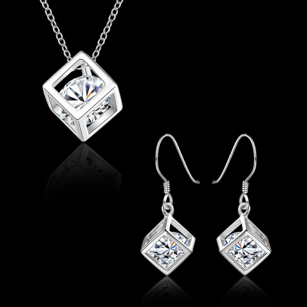 Jewelery Zircon Dice Necklace Earrings Set for Womens Casual Fashion Style Girls Boys 925 Stamp Silver-plated Gift Box Free