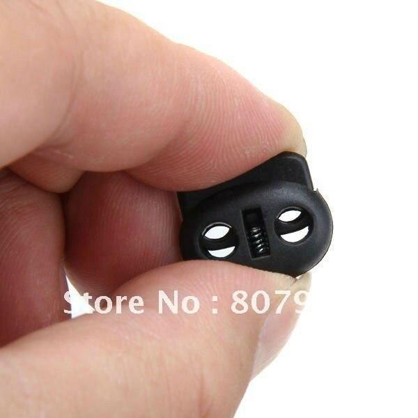 500 шт./партия, блокировка шнура из черного пластика с 2 отверстиями