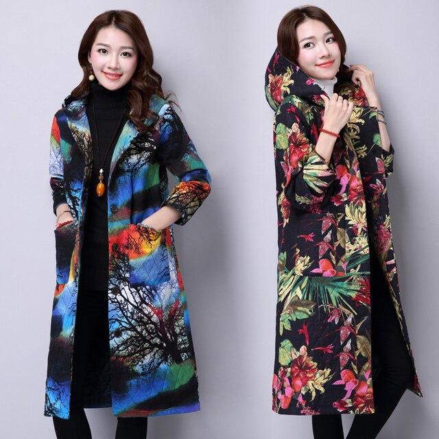 Outono inverno plus size clothing grosso das mulheres imprimir com capuz manga comprida casacos wadded outerwear longo parkas qs653