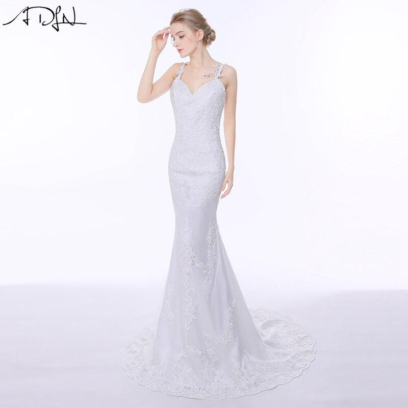 ADLN Sexy Spaghetti Straps Mermaid Wedding Dresses Stock Murah Backless Plus Ukuran Renda Gaun Pengantin Disesuaikan Pernikahan & de Novia