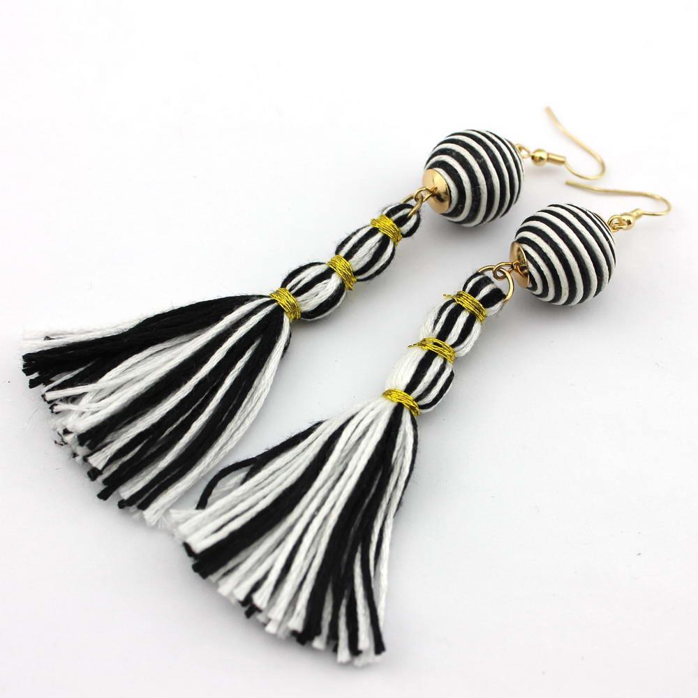 GET IT GIRL Striped Threaded Ball Tassel Earrings for Women 2017 ...