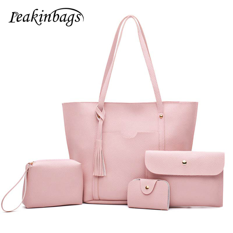 2017 New 4PCS Women Messenger Bags Satchel Tote Crossbody Ladies Purse and Handbags Sets Ladies PU Leather Shoulder Bags zency new women genuine leather shoulder bag female long strap crossbody messenger tote bags handbags ladies satchel for girls