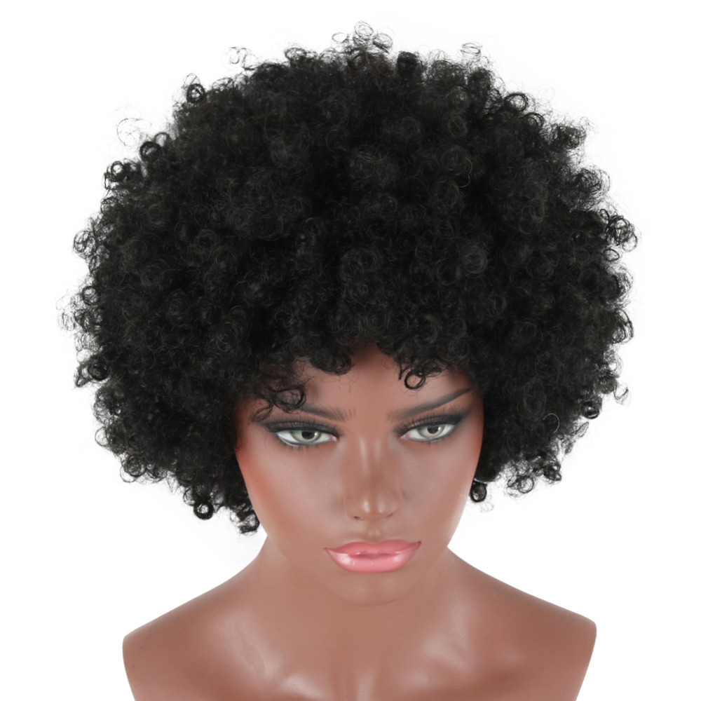 Deyngs Short Black Afro Kinky Curly Synthetic Wigs For Men And Women Fluffy Heat Resistant Synthetic Cosplay Costume Full Wigs