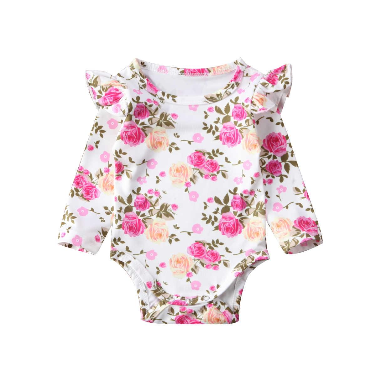אופנה 2018 חמוד תינוקות יילוד תינוקת פרחוני Romper ראפלס סרבל תלבושות בגדים