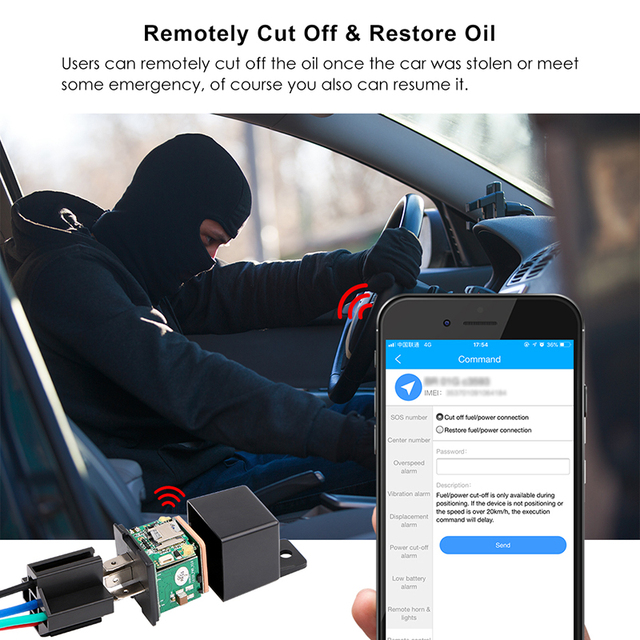 Car Relays GPS Tracker Car Shock Alarm GPS GSM Locator Tracking Device Remote Control Anti-theft Monitoring Cut Off Oil Power