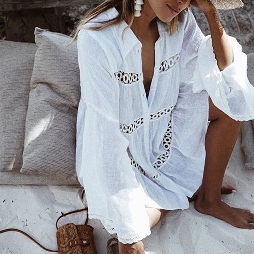 women blouse 2018 Bikini Cover Up Lace Hollow Crochet Swimsuit Summer Beachwear