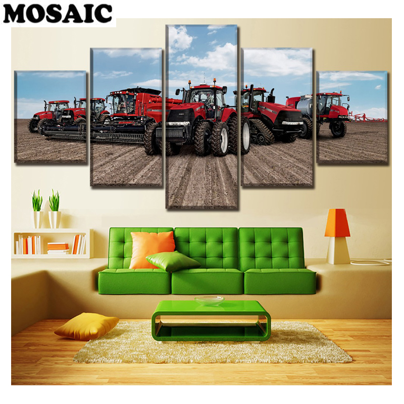 Tractor diy diamond painting Home Decor diamond Pictures 5pcs Red Felling Machine full diamond embroidery sale mosaic wall art