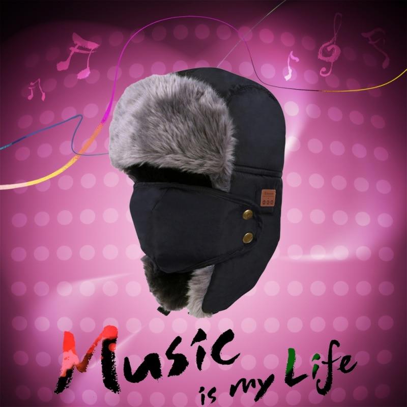 Soft Warm Beanie Hat Wireless Bluetooth Smart Cap Headset Headphone Speaker Mic Bluetooth Hat knitted winter warm female hat rabbit fur beanie cap woman chunky baggy cap skull gorros de lana mujer bonnet femme beanies cap