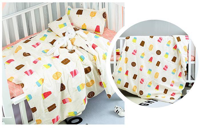 Cute Ice Cream Cotton Cartoon Print Soft Baby Bedding Sheet Cama Bebe Baby Blanket ,Duvet/Sheet/Pillow, With Filling