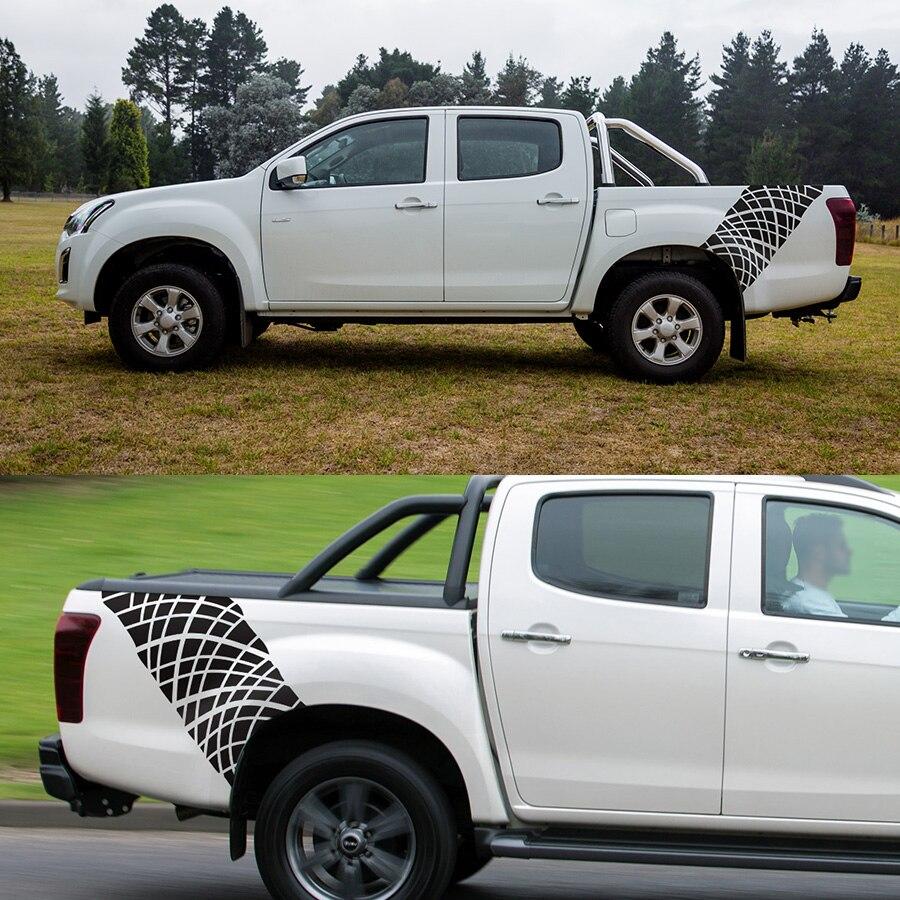 Pour isuzu dmax aventure boue personnaliser accessoires de voiture stickers 2 PC traces de pneus arrière tronc scratch autocollants pour voiture graphique vinyles