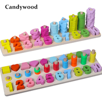 Baby Kids Montessori Math Toys Digital Shape Pairing Learning Preschool Counting Board Children Educational Wooden Toys Gifts