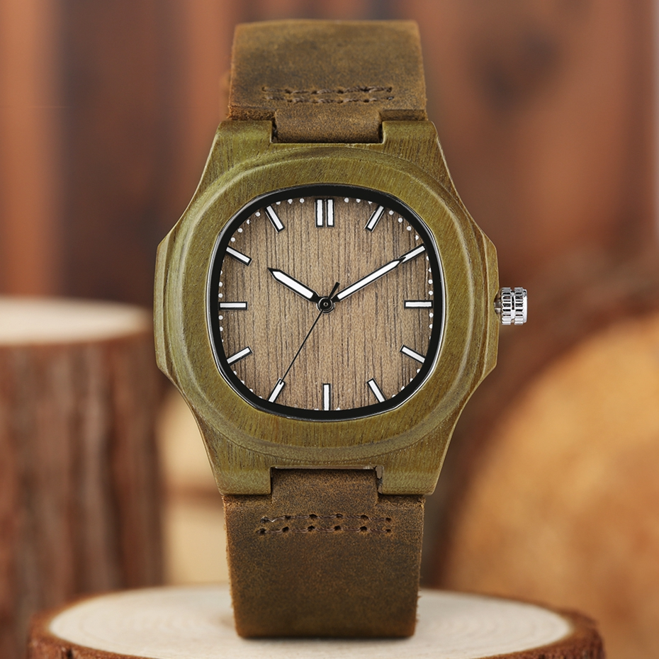 2017 New arrivals Wood Watch Natural Light Wooden Face Fashion Genuine Leather Bangle Unisex Gifts for Men Women Reloj de madera Christmas Gifts (31)