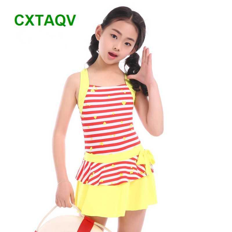 6a44609a4f ... Shoulder Strap Style Korean Version Striped Love Baby Girls Swimwear  Cute One-Piece Swimdress Red ...
