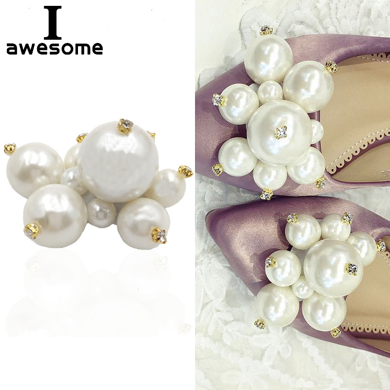 Rhinestone Bead Bridal Wedding Party Shoes Accessories For High Heels Shoes Boots DIY Manual Pearl Boots Shoe Decorations Flower