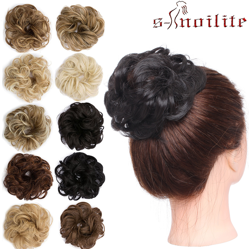 S-noilite 35g Chignon With Elastic Rubber Bands Synthetic Chignon Donut Buns Hairpiece Hair Bun Chignon Curly Hair For Women